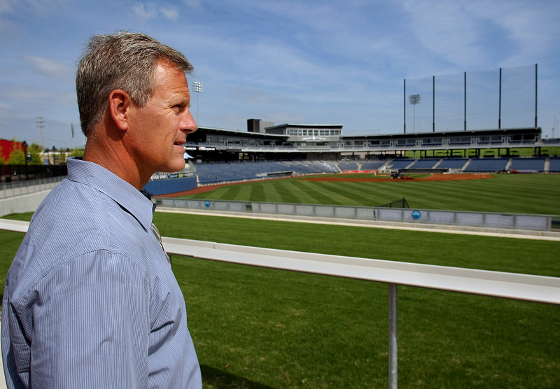 Jeff Hubbard, Co-Owner of the Tulsa Drillers, looks out over the ballpark as final preparations are made before the season begins in two weeks.