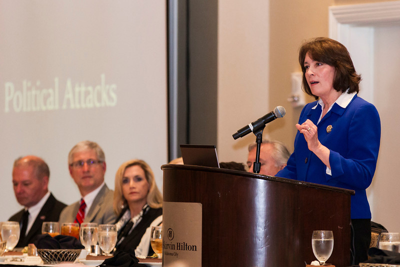 Valerie Couch delivers the keynote address at the 2012 Law Day lunch. Mrs. Couch has recently been installed at Oklahoma City University as dean over the law school.