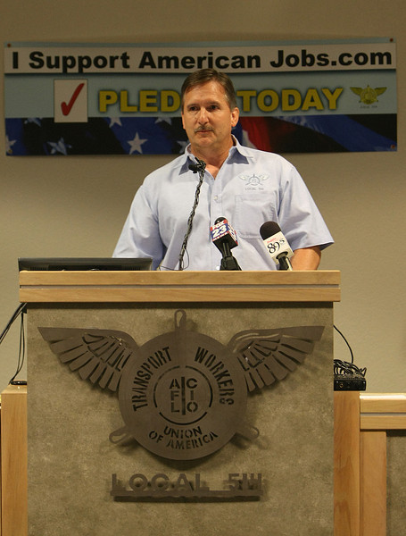 "Speaking at a press conference in Tulsa John Hewitt, Chairman of Maintenance for the Transport Workers Union 514, urges members to vote on the ""Last Best Offer""  labor contract from american Airlines."