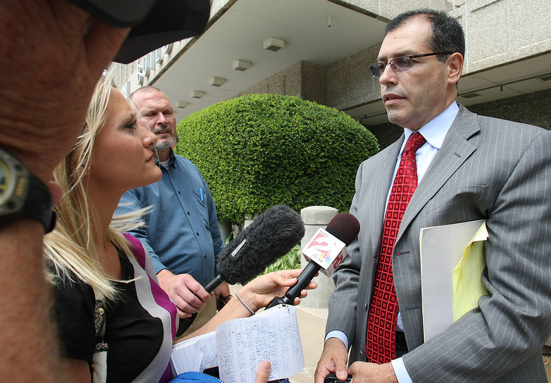 Luis R. Figueredo, a representative of Henderson, Nevada based entity Golden Canyon Partners LL C, speaks with reporters about the courts decision regarding the  construction of the Kialegee Tribal Town's Red Clay Casino in Broken Arrow.