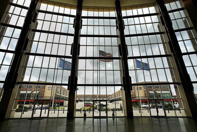 The Regal Plaza Shopping Center seen through the windows of the Spirit Bank Event center in Bixby.
