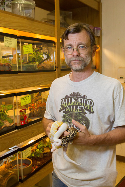 Brian Swinney owns Alligator Alley located at 4636 NW 10th in Oklahoma CIty. Among the animals at the store thay have frogs, turtles, scnakes and one alligator who is not for sale.