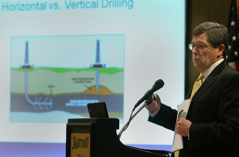 Jeff Hume, President and Chief Operating Officer of Continental Resources, speaks at the OK-NARO convention in Tulsa