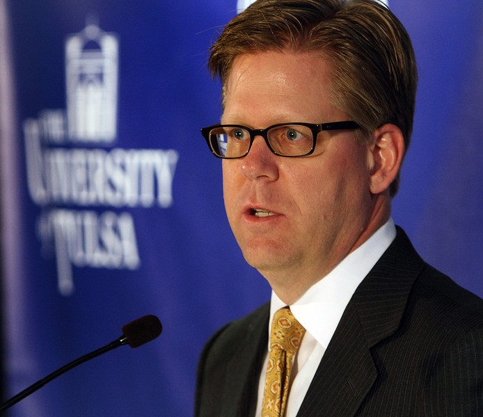 Geoffrey Orsak speaks at a press conference announcing his appointment as Tulsa University's 18th president.