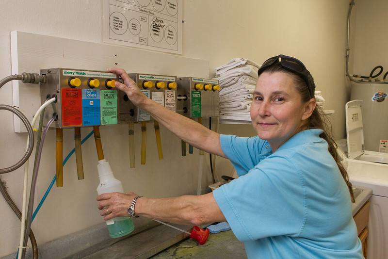Mo Knipperberg work at Merry Maids. She was named team member of the year for 2012.