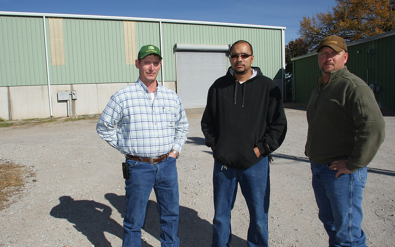 NMB Manufacturing Co-Owners Dennis Nunley, Robert Barnett and Rick Martin pause for a photo in front of their Bixby plant.  The company builds custom-made parts for the refining, pipeline and petrochemical industries.
