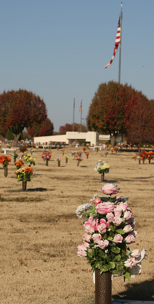 Grave markers at the Floral Haven cemetery in Tulsa.