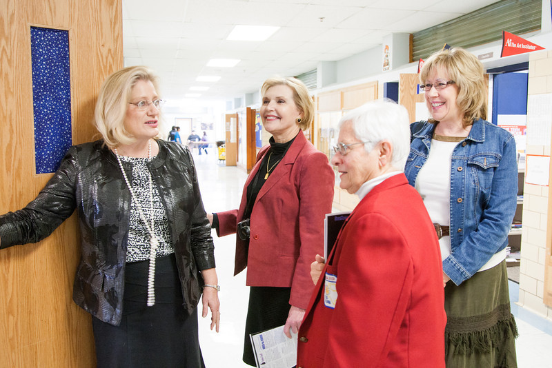 Teacher Mary Cloos (left)gave a tour of Southeast Highschool to repersenitives of the Kiwanis Club. Southeast Highschool is hoping to start a Key Club, part of Kiwanis for students.