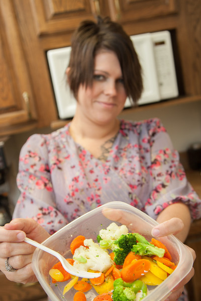 Kyla Richardson with a simple lunch of steamed veggies. Kyla is an employee at Nabholz Construction.
