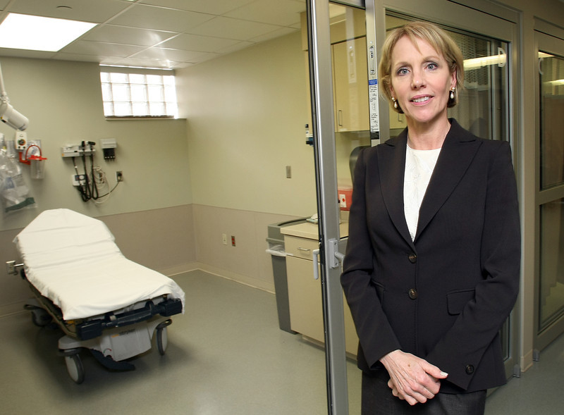 Diane Rafferty, CEO of the Oklahoma State University Medical Center pauses for a photo at the hospitals newly constructed emergency rooms fast track area.