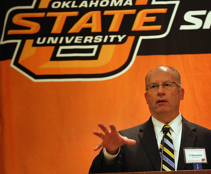 Michael Ming, Oklahoma Secretary of Energy, speaks at the Eighth Annual Oil and Gas Accounting Conference in Tulsa.