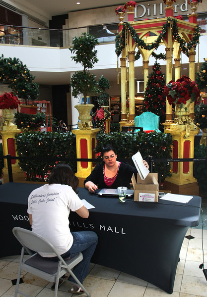 Candice Wagoner of NOER Programs accepts an application from a prospective seasonal employee at the Santa Clause display at the Woodland Hills Mall in Tulsa.