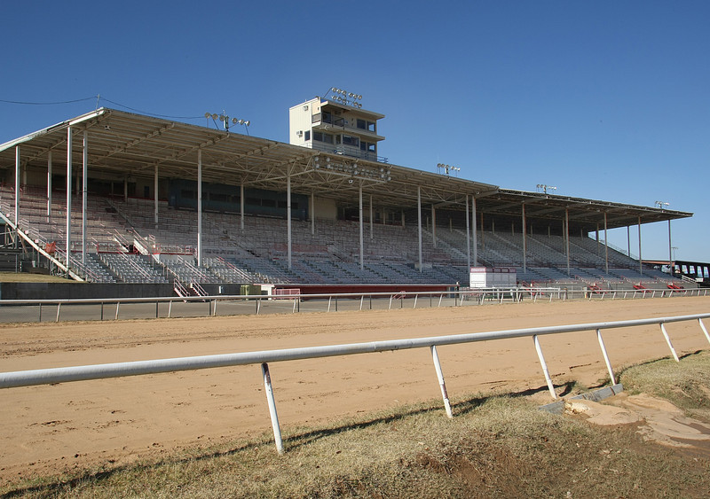 The Fair Meadows main grandstands located on the Tulsa State Fairgrounds sit empty now that racing has been discontinued at the site.