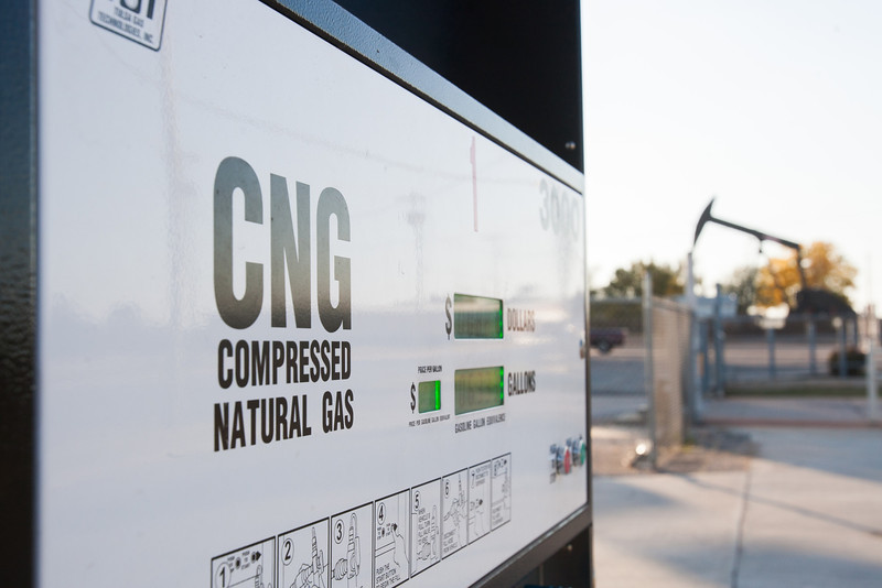 A CNG pump at 412 SE 59th in front of an ONG facility.