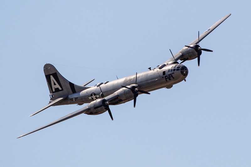 """The B-29 Superfortrass """"Fifi"""" landed at Wiley Post airport Tuesday."""