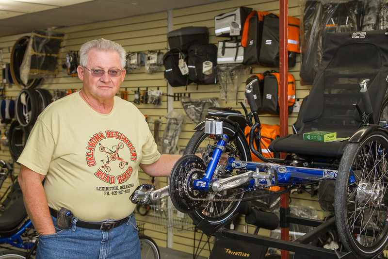Bob Massengale, owner of Oklahoma Recumbent Road Bikes located in downtown Lexington.