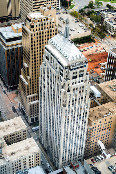 First National Center as seen from the 50th floor of the Devon Tower.