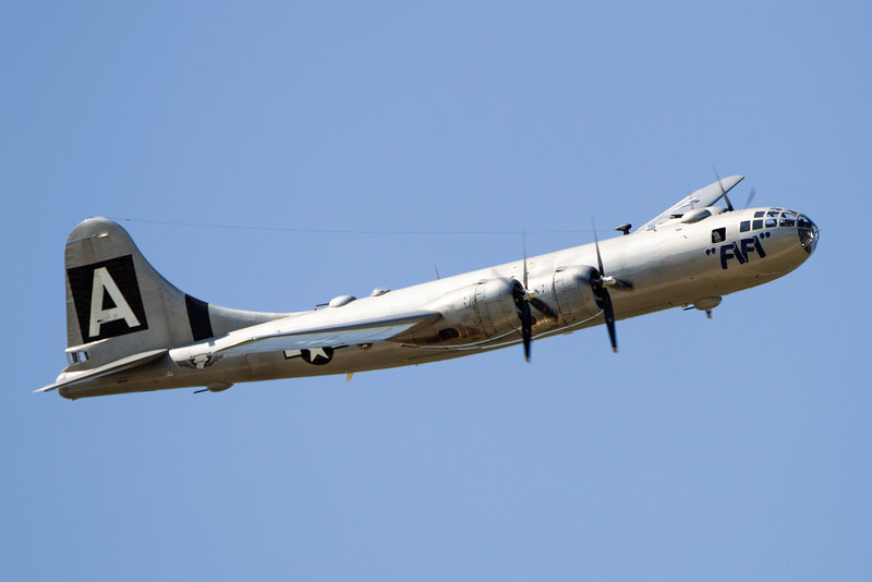 "The B-29 Superfortrass ""Fifi"" landed at Wiley Post airport Tuesday."