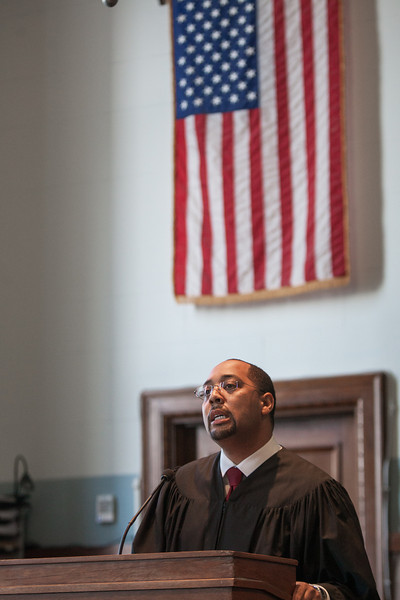 Bernard Jones was sworn in as district county judge Monday morning. Jones was appointed by Gov Mary Fallin to fill the vancancie left by the resignation of Tammy Bass-LeSure.