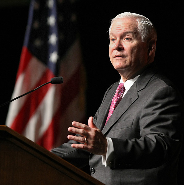Former U.S. Secretary of Defense Robert Gates speaks at the OSU President's Speakers Series in Tulsa.