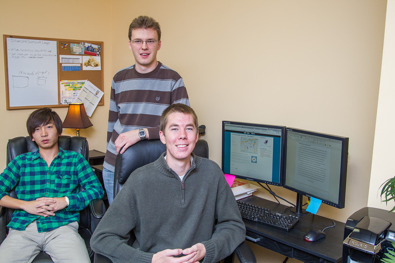Lingps Huong, Greg Stamm and Wiliam Low with Pinecone, a video service internet startup in Edmond.