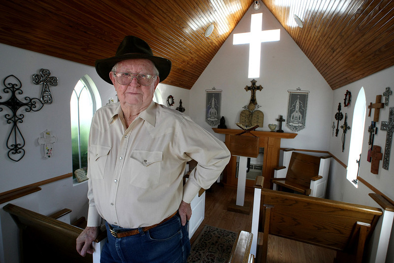 Red Stevenson in the small chapel  in downtown Bixby that he built for his wife as a 50th wedding anniversary gift.