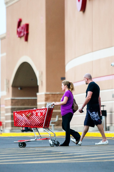 Shoppers leaving Target at 122nd and Memorial.