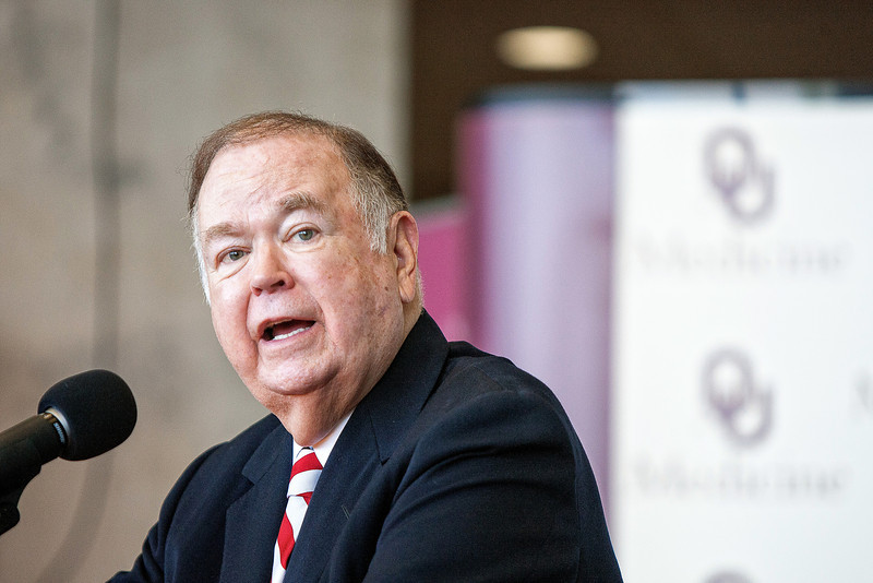 OU president David Boren announces a $10 million grant to the Harold Hamm Diabetes Center.