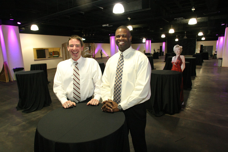 Stokely Events Center owner Sam Stokely and facilities manager Marquess Dennis, pause for a photo in the new facility.