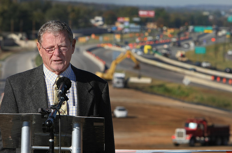 Senator James Inhoffe speaks at a press conference announcing the beginning of the fourth phase of the I-44 widening project in Tulsa.