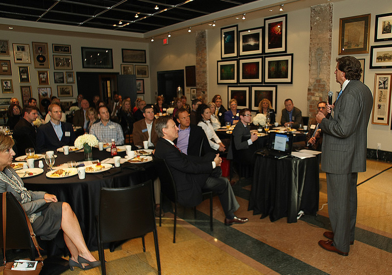 William E. Hunt, president of The Elmhurst Group of  Pittsburgh and Chairman of the National Association of Industrial and Office Properties, outlined several trends and issues before Tulsa's NAIOP chapter meeting.