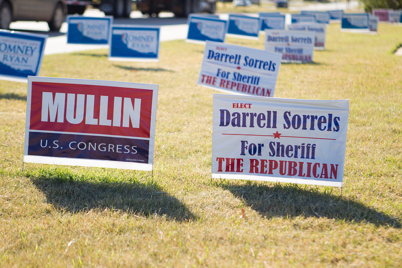 Campaign signs along north Lincoln the day after the elections.