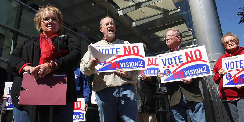 Opponents of the Vision 2 Tax initiative hold a Press Conference outside Tulsa City Hall to voice their opinion.