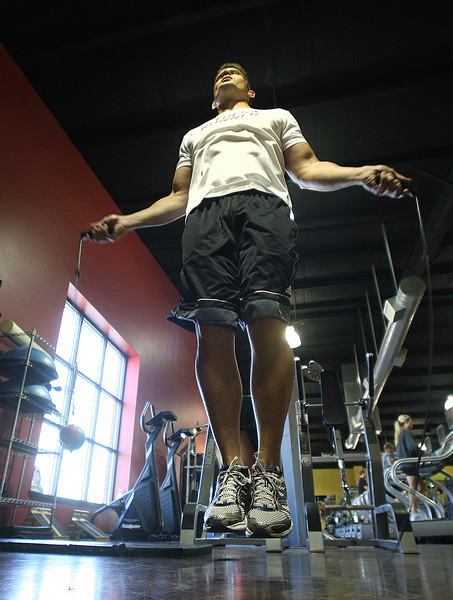 John Roach gets his workout in at the Adrenaline Body Worx gym in Bixby.