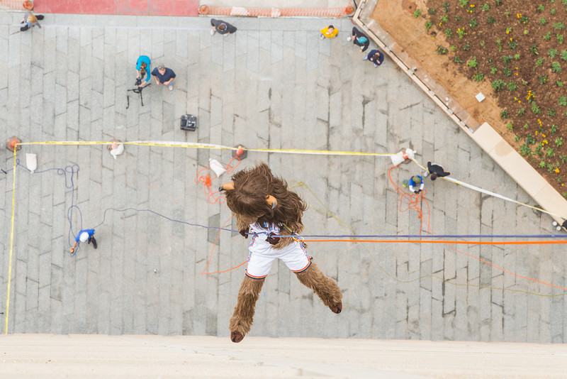 At the annual Over the Edge even Rumble repelles down the west side of the Sandridge building. The event is part of fund raising for the Special Olympics.