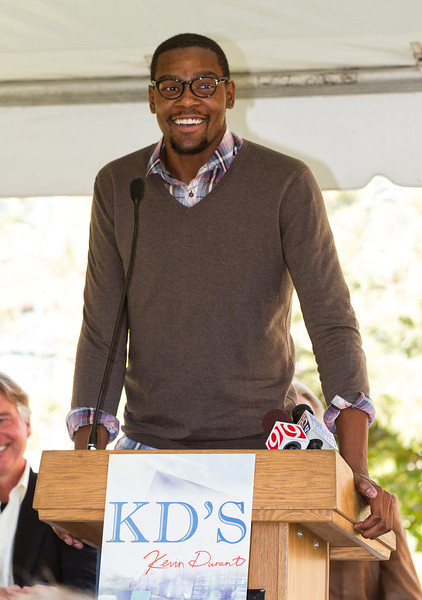 Kevin Durant at the ground breaking of a new Bricktown resturaunt that will bear his name.