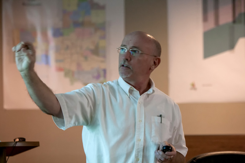 John Harrington, with the Association of Central Oklahoma governments, gives a presentation on potential water pollution seeping into aquaphers.