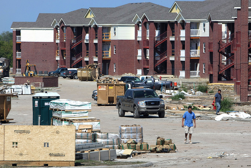 Work continues on the 376-unit Greens at Battle;e Creek apartment complex in Broken Arrow.
