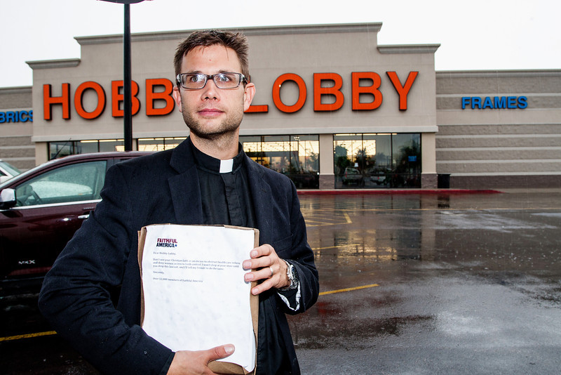 Rev Lance Schmitz delivered petitions to a manager at the Hobby Lobby located at Reno and McArthur. Earlier Rev Schmitz attempted to deliver directly to Hobby Lobby headquarters but was asked to leave.