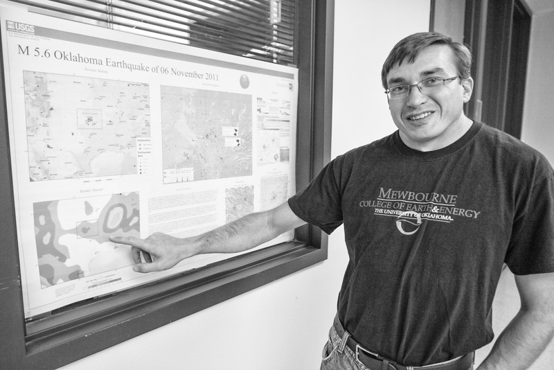 Austin Holland is researching the correlation between tremors in Oklahoma and the pumping of large amounts of water into well sites.