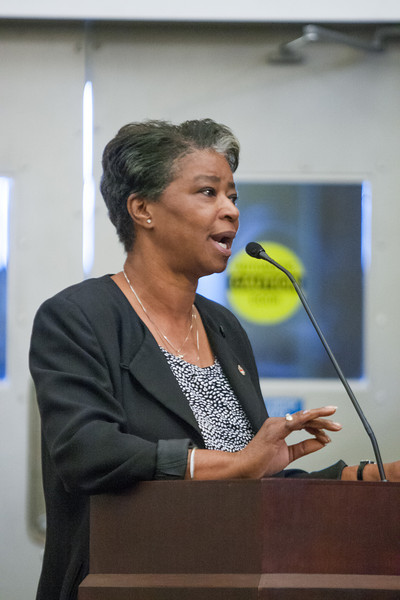 Dianne McDaniel led protesters to the City Planning Commision meeting in oposition to proposed zoneing changes to the JFK niehborhood located south of the OU Medical complex.