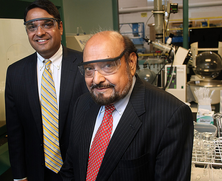 Executive Vice President and Managing Director of Advance Research Chemicals  Sanjay D. Meshri and , Dayal T. Meshri, President and CEO, pause for a photo at their companies Catoosa plant.