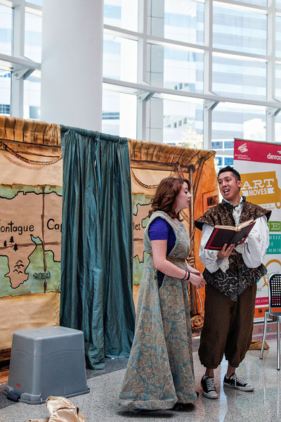 Alex McDonald and Devyn Ray perform a two person rendition of Romeo & Juliet at the Oklahoma City Library.