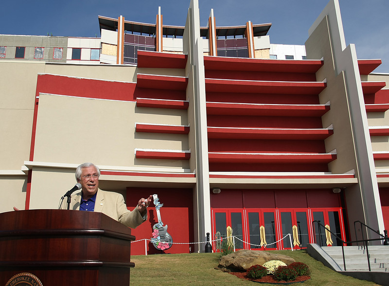 Cherokee Nation Principal Chief Bill John Baker speaks at the dedication of the new wing at the Hard Rock Casino in Catooosa.