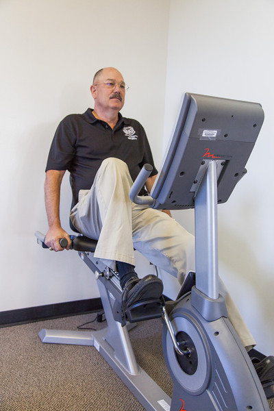 Robert Bybee working out at the Oklahoma City County Health Department