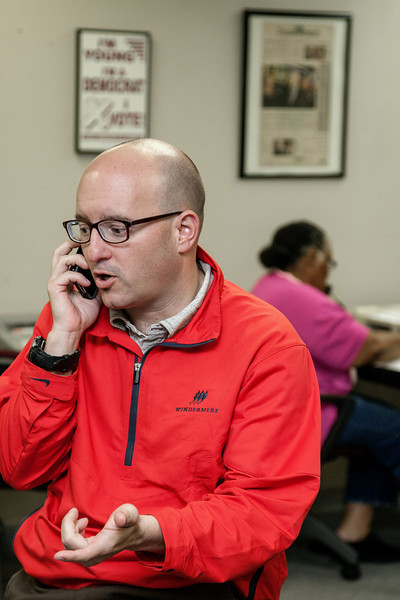Trev Robertson on the phone in the volenteer center at the Democratic Headquarters for the State of Oklahoma.