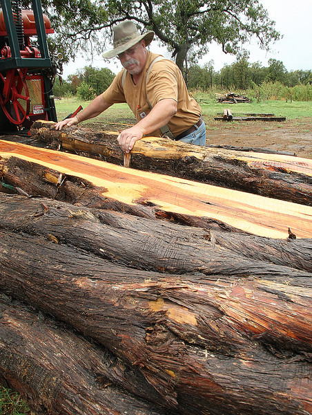 Perry McDonald, Operations Manager of Singing Wire Cedar, runs timber through a saw at his  Beggs based lumber mill.