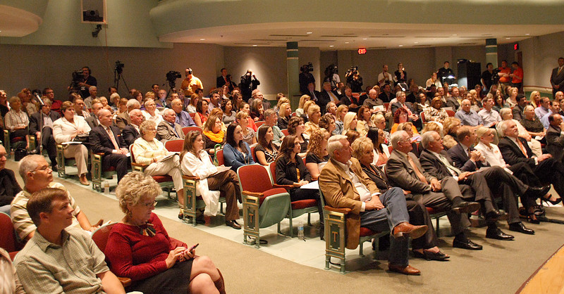Audience members at the Town Hall meeting in Tulsa with Governor Mary Fallin.
