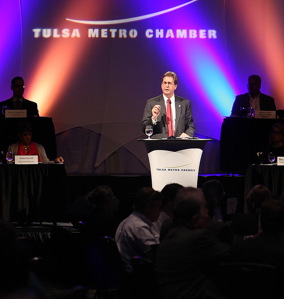 Tulsa Mayor Dewey Bartlett gives the State of the City speech at the Tulsa Metro Chamber Luncheon.