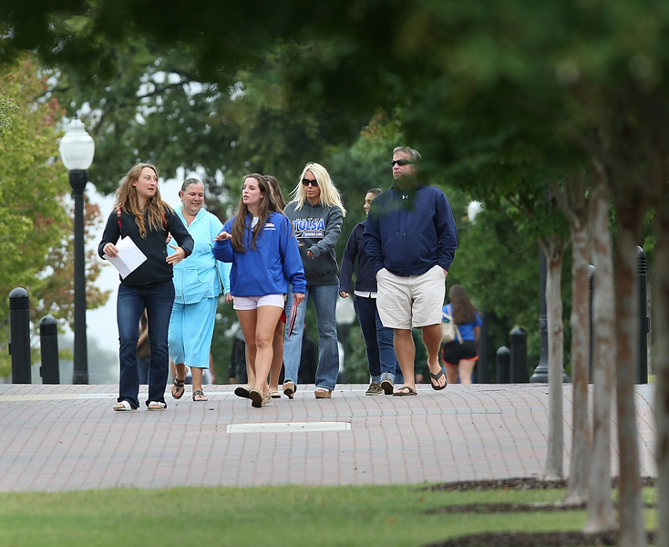 Students cross the Tulsa University campus Friday.